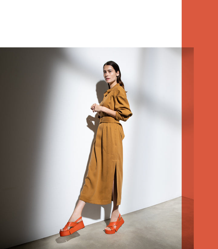 Myrta sandals in orange and camel lambskin
