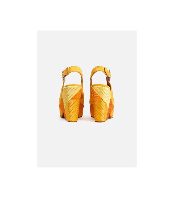 Dori wedge sandals in yellow goatskin