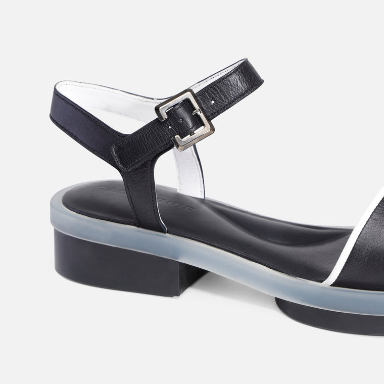 FELICIE SANDALS, BLACK & WHITE
