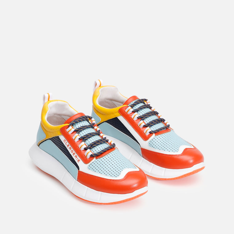 SEA SNEAKERS, ORANGE, WHITE, YELLOW & BLUE - Clergerie Paris