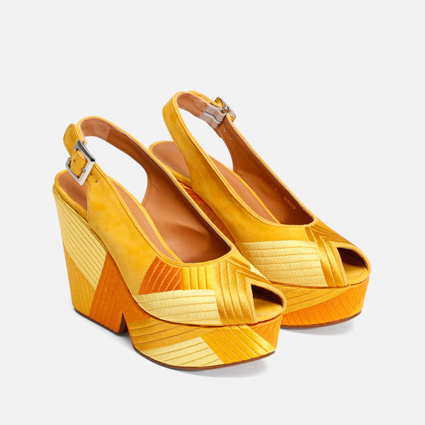 DORI WEDGE SANDALS, YELLOW