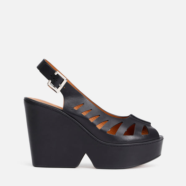 DIANE WEDGE SANDALS, BLACK