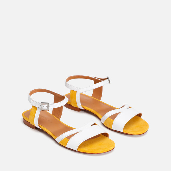 IZZIE SANDALS, WHITE & YELLOW - Clergerie Paris