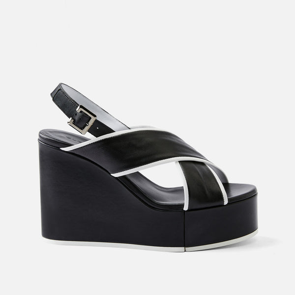 MIRA WEDGE SANDALS, BLACK & WHITE