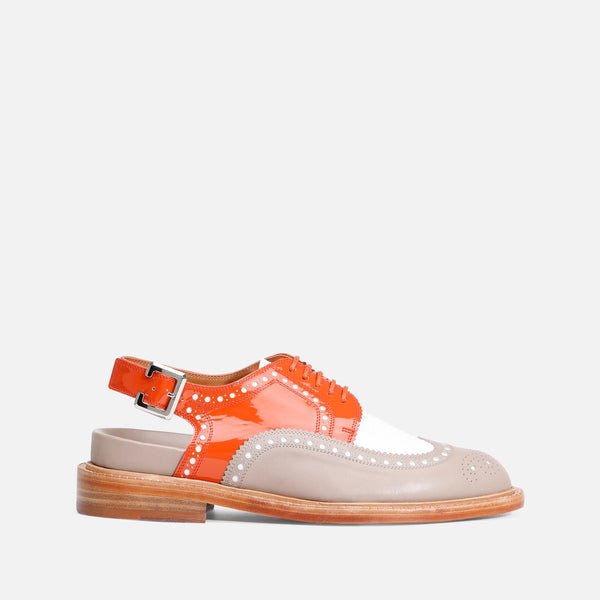 GENIUS DERBIES, TAUPE & ORANGE