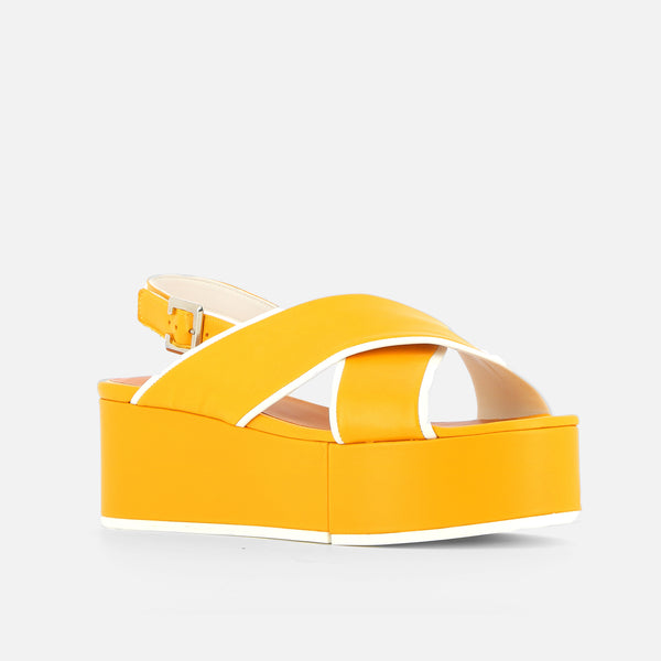 MYRTE SANDALS, YELLOW & WHITE