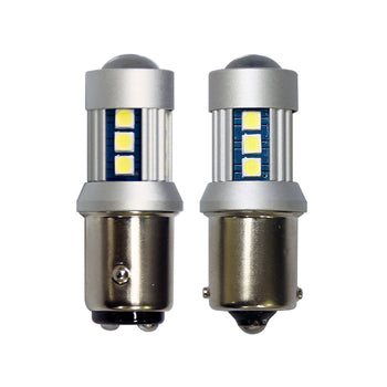 12V-24V Ba15S 1156 Ba15D 1142 15 SMD 3030 Power LED Replacement Light Bulbs with Projector - KoreaAutoAccessory