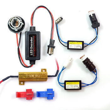 12V LED All-in-One Error Code Cancellers Load Matching Ba15S Ba9S T10 Wires - KoreaAutoAccessory