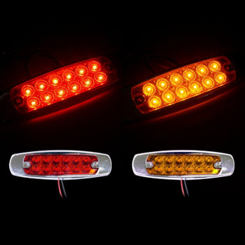 24V Chrome LED Arrow Panel Car Side Marker Light Red Yellow - KoreaAutoAccessory