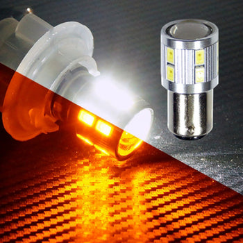 12V-24V Switchback Dual-colored Ba15D 1142 16 SMD LED Replacement Light Bulbs Turn Signal - KoreaAutoAccessory