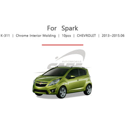 10pcs Chevrolet Fit Spark Chrome Interior Molding