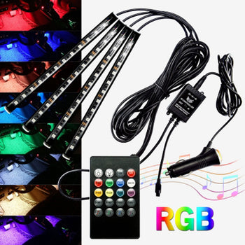 12V 5050 RGB LED Bar Cigarette Socket Colorful - KoreaAutoAccessory