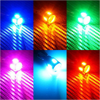 Super Brighten 12V/24V T10 Car Light Bulbs Dome Colorful