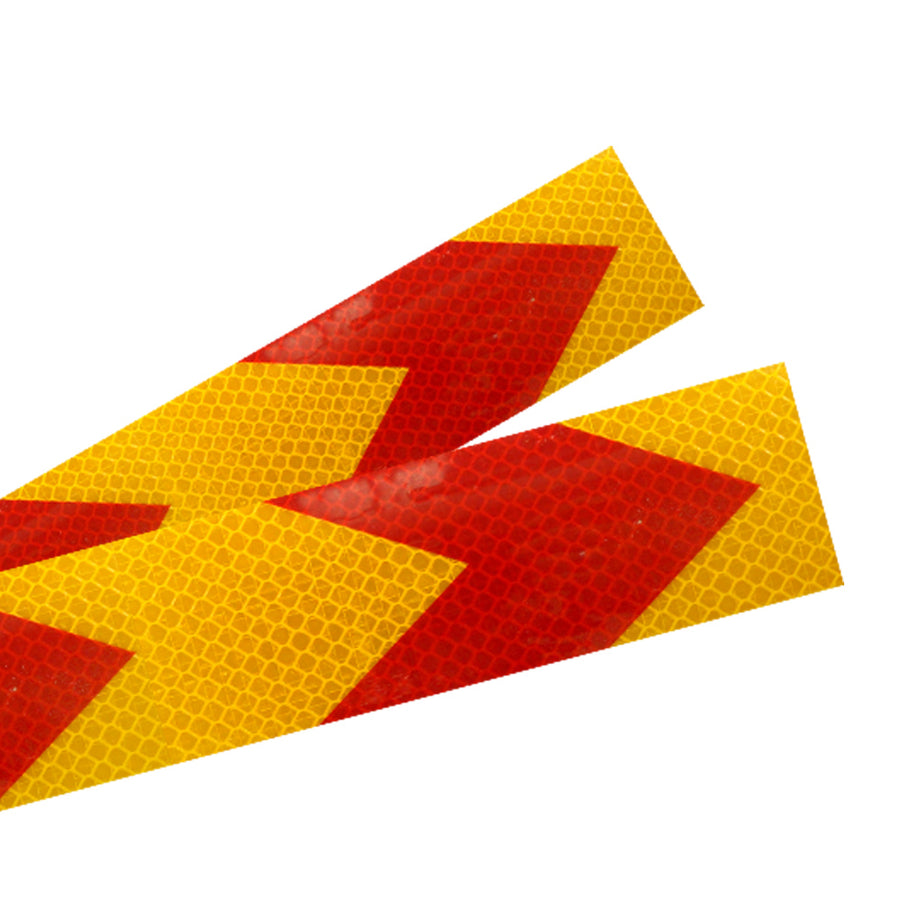 50mm X 45M Red Yellow Arrow Shape Self Adhesive Reflective Safety Warning Conspicuity Tape Film Sticker for Auto Cars Trucks Trailers