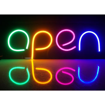 "DIY ""OPEN"" Silicon LED Neon Light 12V Business Store Shop Signs"