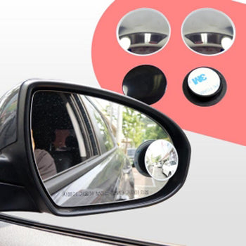 2pcs Car Rearview Mirror Blind Spot Side Convex View Wide Angle Van Adjustable Adhesive