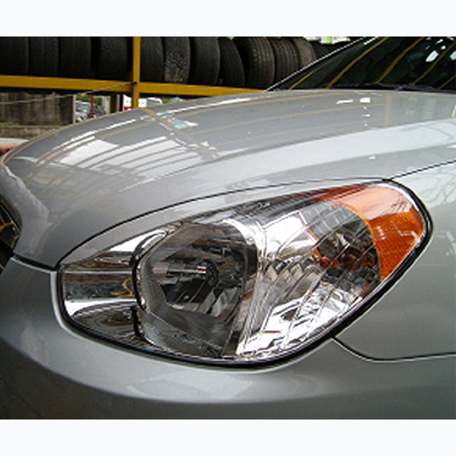 2 Pcs Unpainted Paintable Front Headlight Eyebrow Eyelid Trim Cover for Hyundai Verna Chevrolet Winstorm