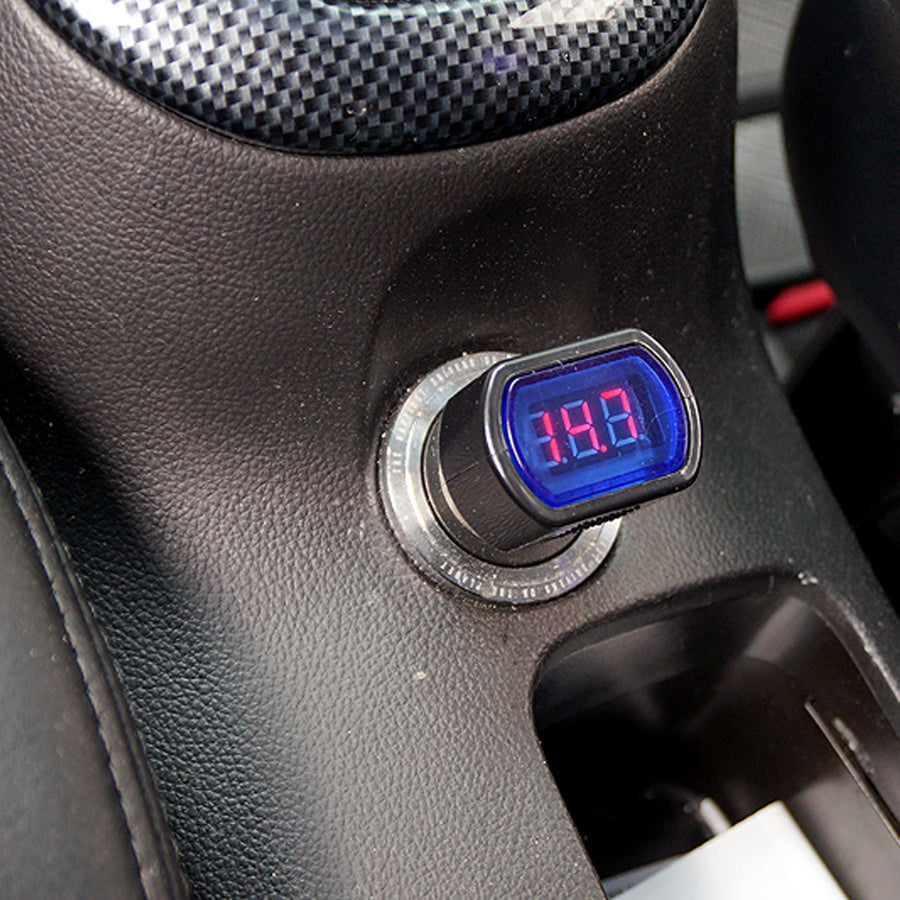 12V Red LED Digital Car Voltmeter Voltage Gauge Tester Cigarette Lighter Charger - KoreaAutoAccessory