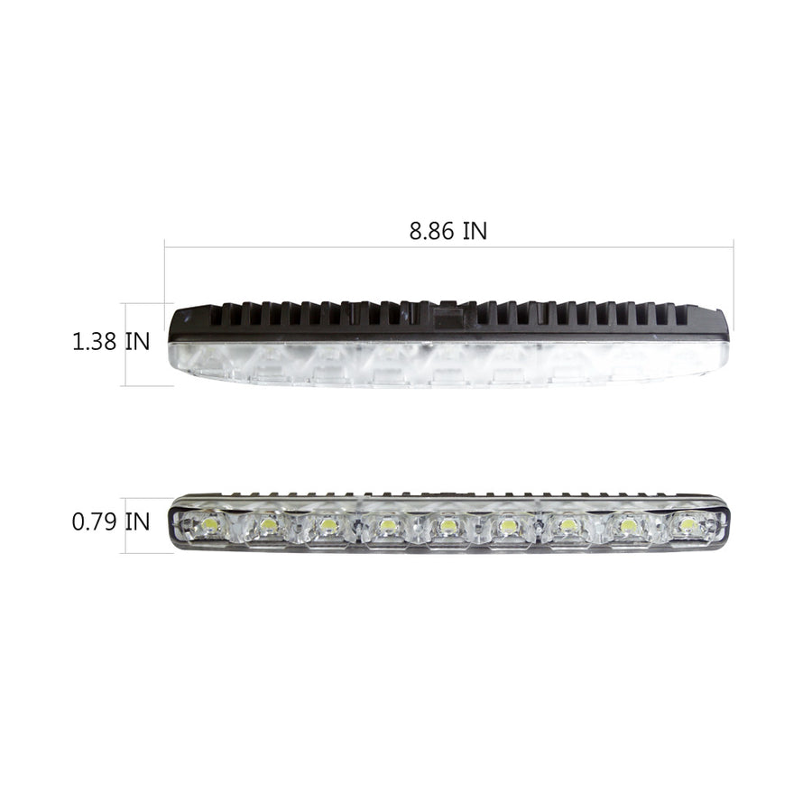 12V LED Daytime Running Light Kit DRL Driving Lamp White 9 SMD Waterproof Set of 2 - KoreaAutoAccessory