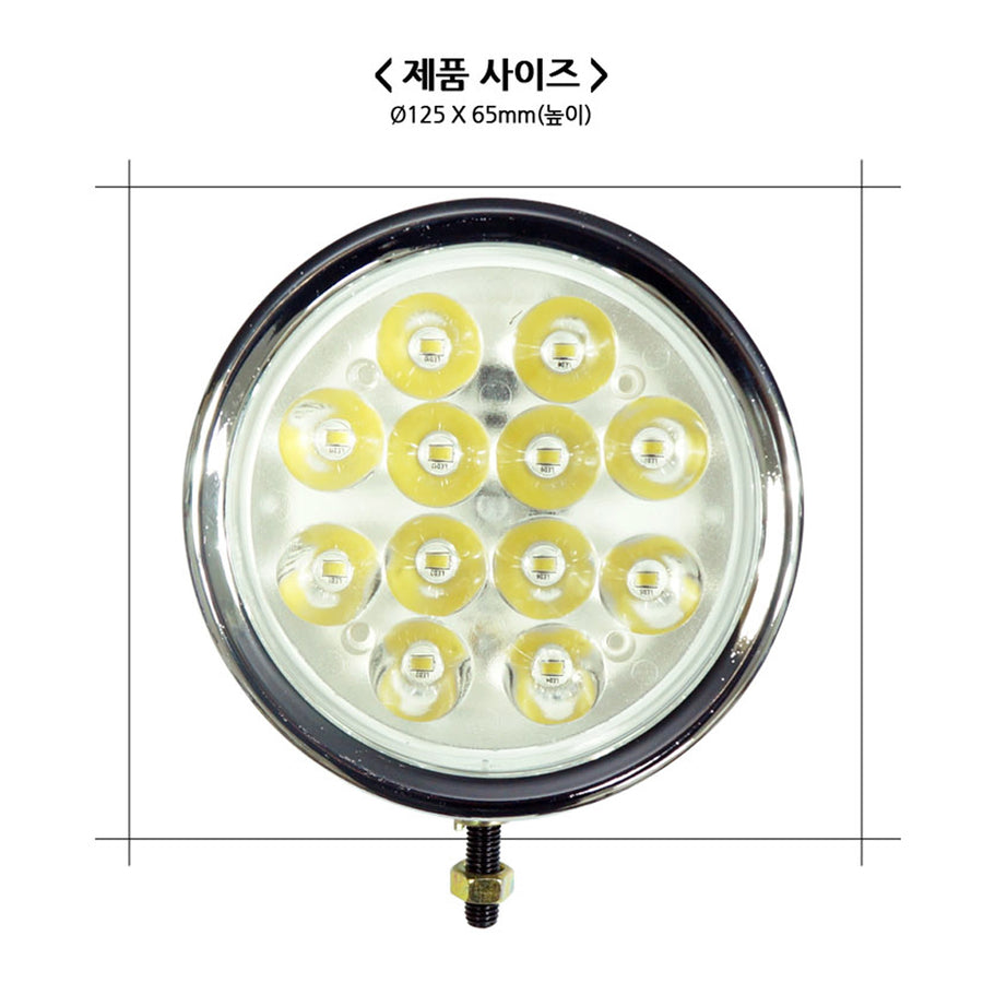 12V-24V Round 6W 12LED Work Light - KoreaAutoAccessory