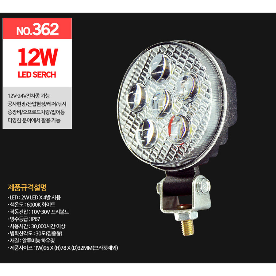 12V/24V 12W Work Light 6000K IP67 - KoreaAutoAccessory