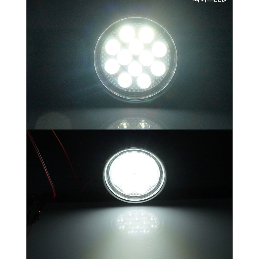 12V-24V LED Fog Light Day Running Light White Yellow - KoreaAutoAccessory