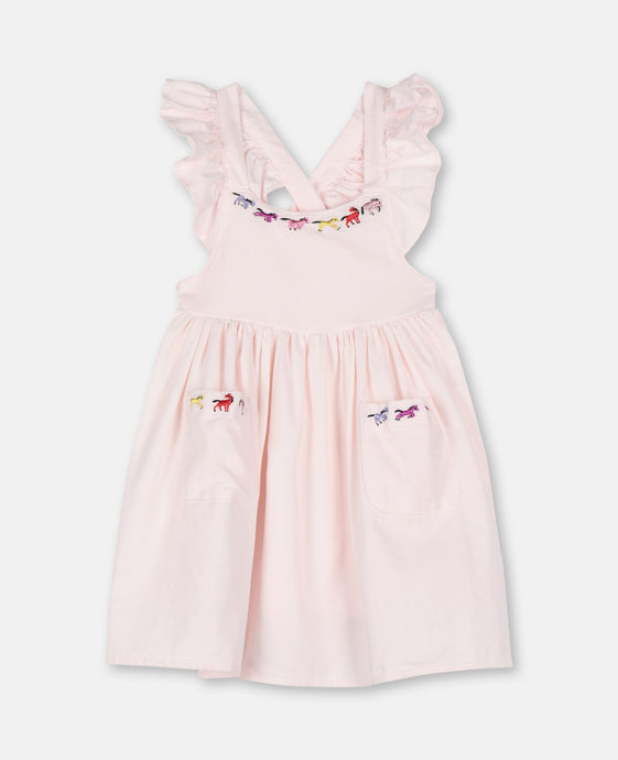 Horses Embroidered SMC Baby Dress