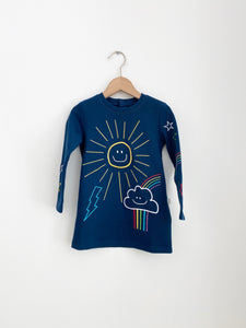 Embroidered Sun SMC Baby Fleece Dress