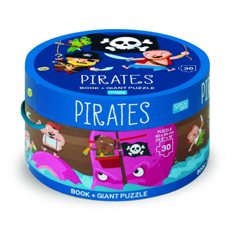 Sassi Book And Giant Puzzle Round Box Pirates