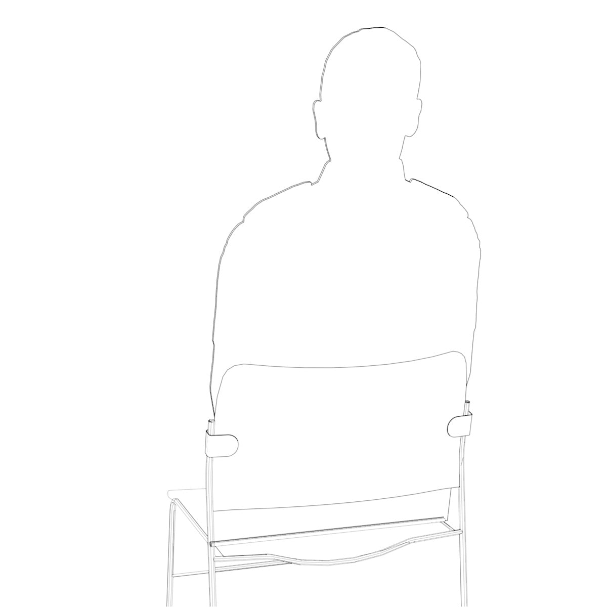 Silhouette on chair with back showing fixings