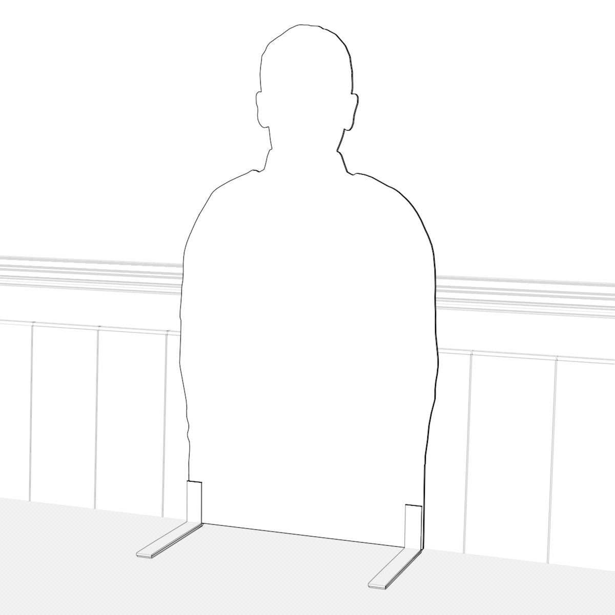 Silhouette with feet in pew