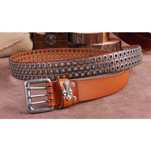 Load image into Gallery viewer, Genuine Cow Leather Rivet Punk Style Belt