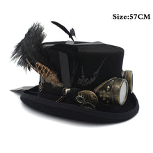 Load image into Gallery viewer, 100% Wool Millinery Steampunk Top Hat with Goggles*