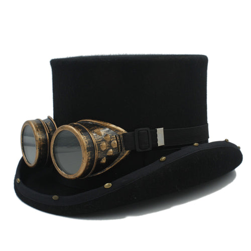 13.5cm Handmade Wool Steampunk Top Hat with Goggles