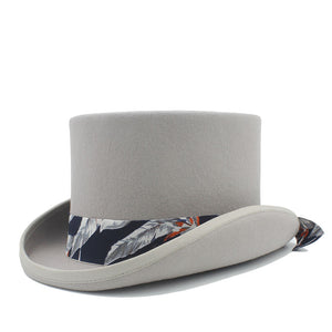 100% Wool Steampunk Top Hat with Floral Satin Ribbon*