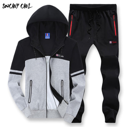 Mens Cotton and Polyester Autumn 2 Piece Jogging Suit