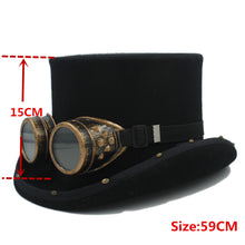 Load image into Gallery viewer, 15CM Handmade Wool Steampunk Top Hat with Goggles