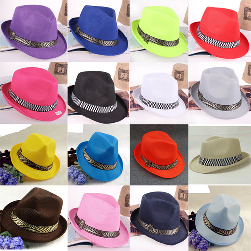 LANSHITINA Summer Solid Color Fedoras 16 Colors