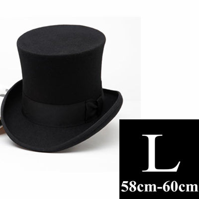 1dd25b28941ce 18CM Vintage Felt High-Top Magicians Top Hat with Bow-Tie Ribbon HUB ...