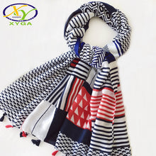 Load image into Gallery viewer, Women's Striped Scarf w/ Long Tassels- Geometric Viscose Pashminas Shawl