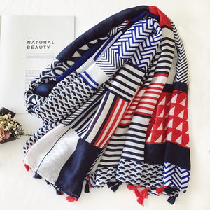 Women's Striped Scarf w/ Long Tassels- Geometric Viscose Pashminas Shawl