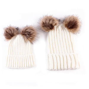 2 PCS Set Family Matching  -Autumn Baby  faux Fur Pompom Ball -Kids Knitted Beanies Hat