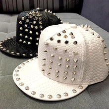 Load image into Gallery viewer, Solid Leather Snakeskin Grain Riveted Snapback Hat* (56cm-60cm)