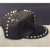 Solid Leather Snakeskin Grain Riveted Snapback Hat
