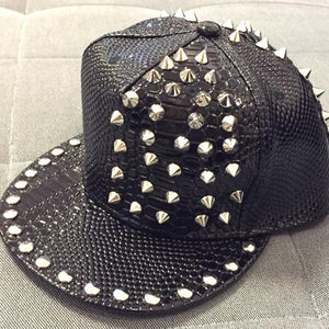 Solid Leather Snakeskin Grain Riveted Snapback Hat* (56cm-60cm)