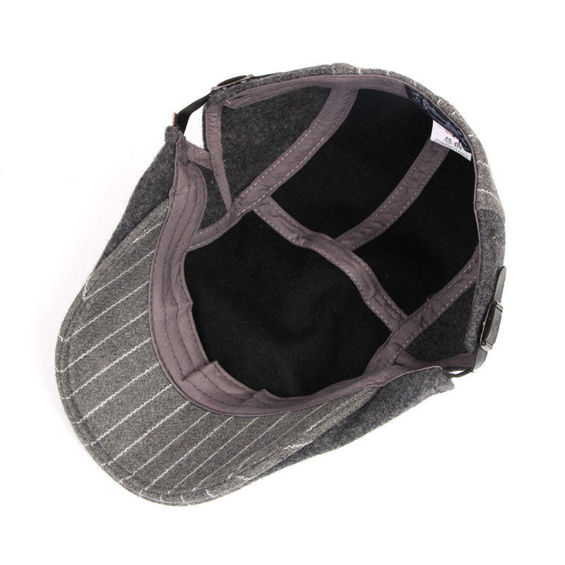 cf773357 Load image into Gallery viewer, IDOPY Vintage Striped Winter Newsboy Cap*  ...