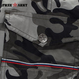 Mens Knee-Length Cotton Army Camo Shorts