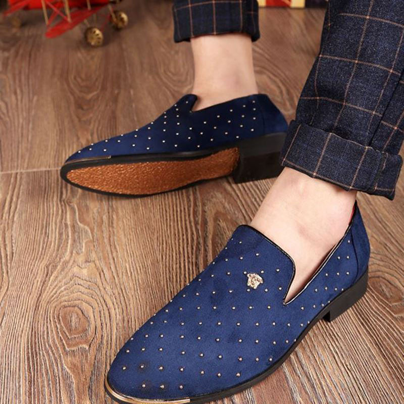 Men's Leather And Suede Rivet Style Flat Oxfords