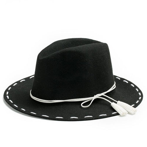 New 100% Wool Bowknot Wide Brim Fedora*