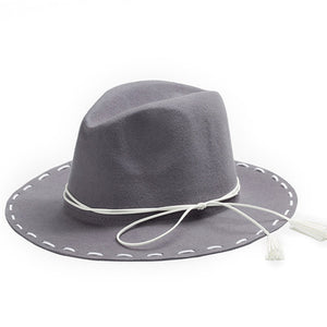 New 100% Wool Bowknot Wide Brim Fedora